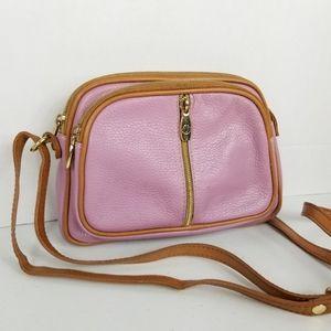 Valentina Leather Crossbody Bag Pink & Caramel